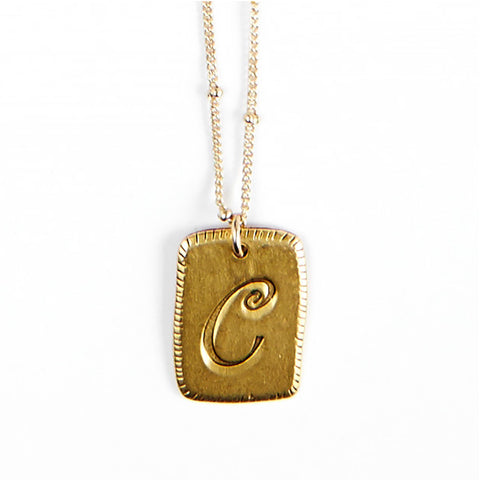"""C"" Smooth Initial Necklace"