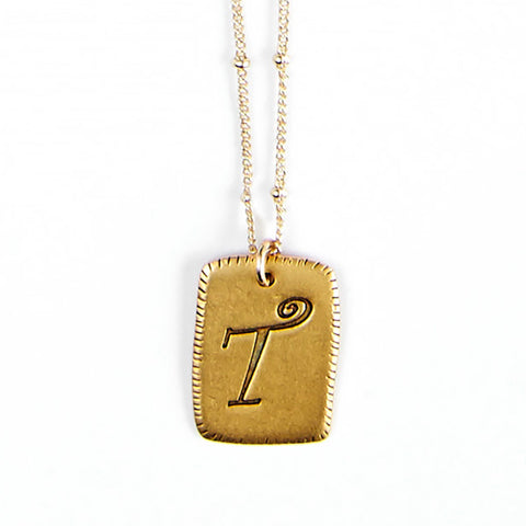 """T"" Smooth Initial Necklace"