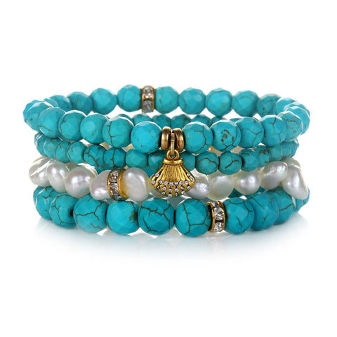 """Happy"" Color Karma Beaded Bracelet Set"