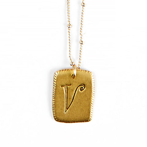 """V"" Smooth Initial Necklace"
