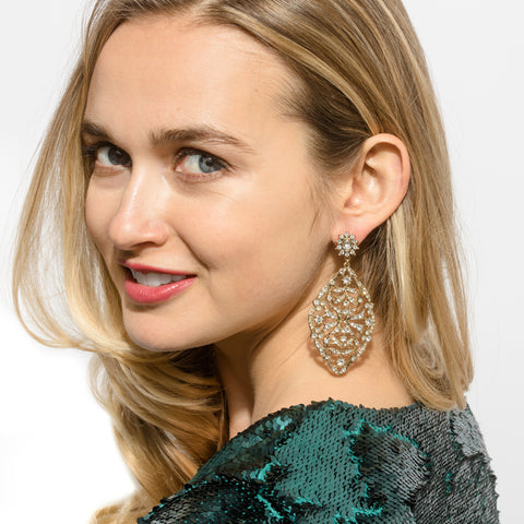 Gold Deco Lace Drop Earrings