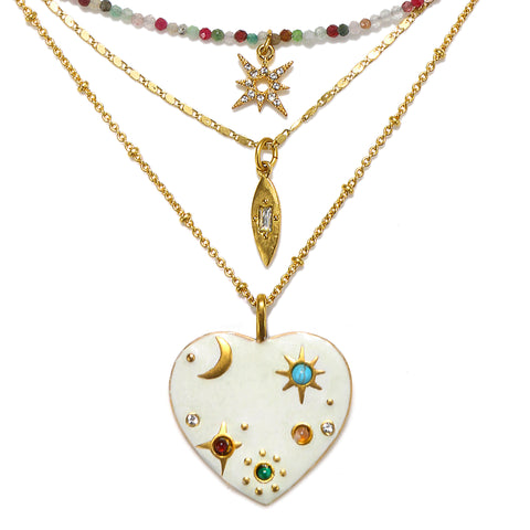 Inspired Heart Semi-Precious 3-Layer Talisman Necklace