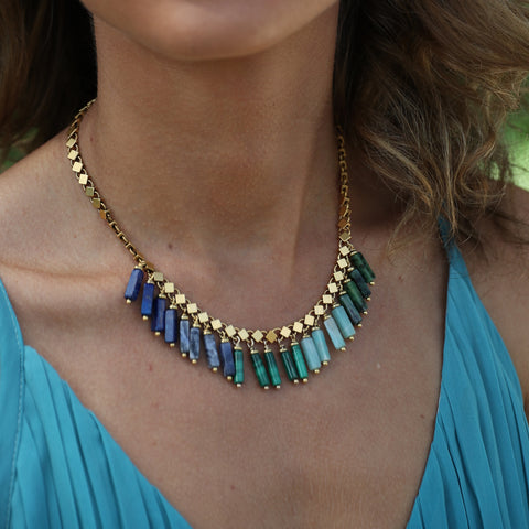 Into the Blue Statement Choker Necklace