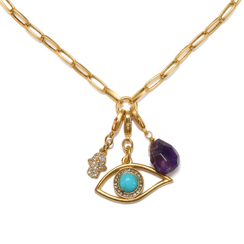 Protection Talisman Trio Necklace with Convertible Charms