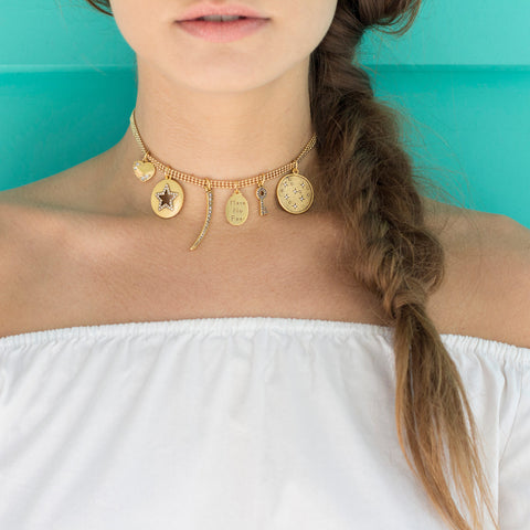 All Good Things Talisman Choker Necklace - Mesh Chain