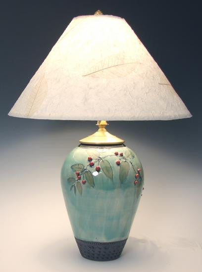 Small Urn Table Lamp with Berries