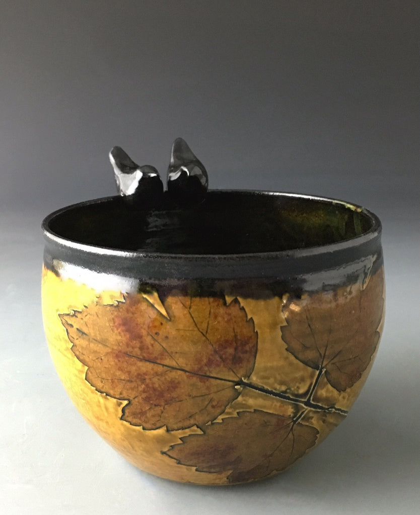 Bird Friend Cup in Iron with Snakeroot Leaf SOLD, Accepting Orders