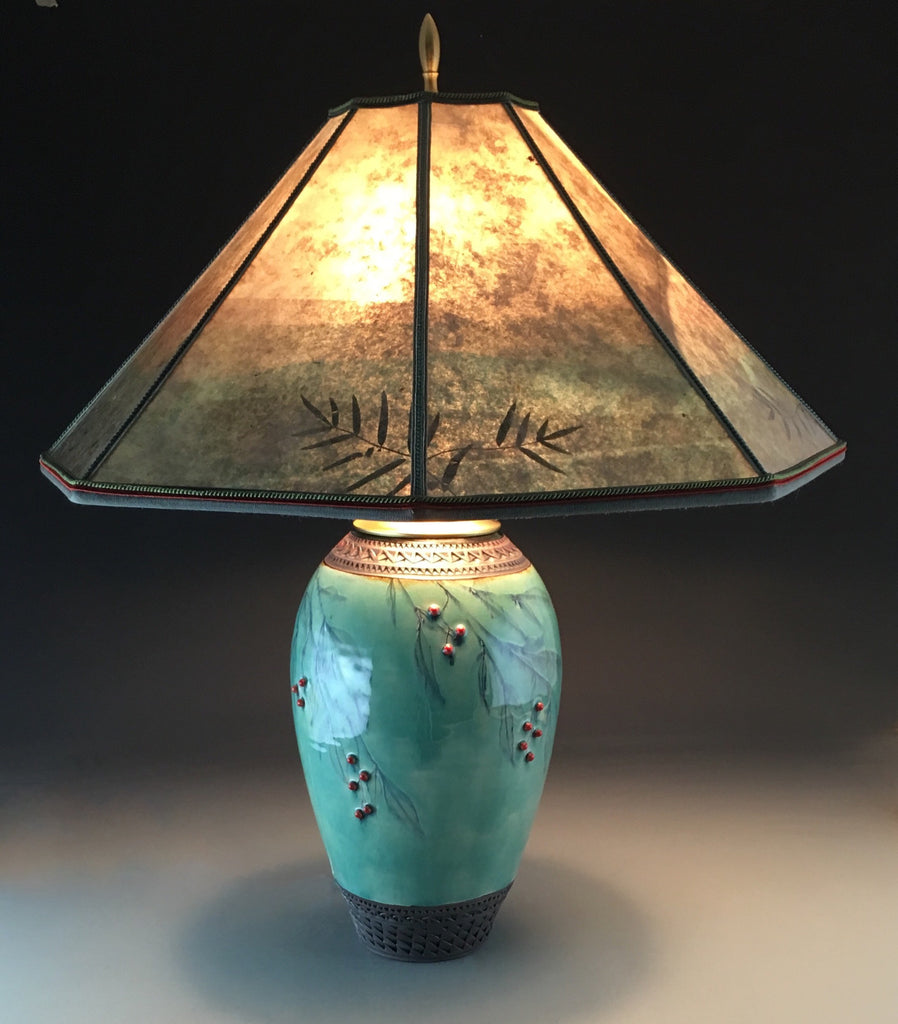 Tall Table Lamp in Celadon with Red Berries, Bamboo -SOLD-Accepting orders.