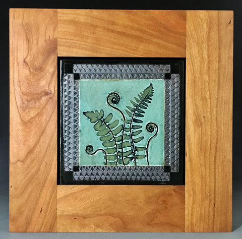 "Framed 8"" Mission Tile, Fern and Fiddlehead, Celadon/Cherry #2"