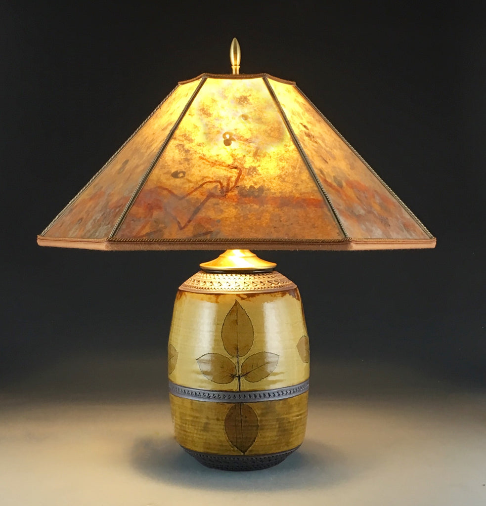 Mission Rose Lamp in Amber and Iron with One of a Kind Mica Shade