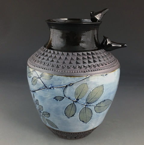 Birds and Roses Vase in Cornflower Blue #2 (Birds Right)