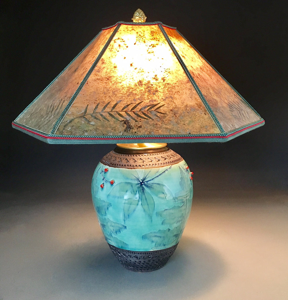 Indian Cucumber Lamp with Mica Shade in Celadon