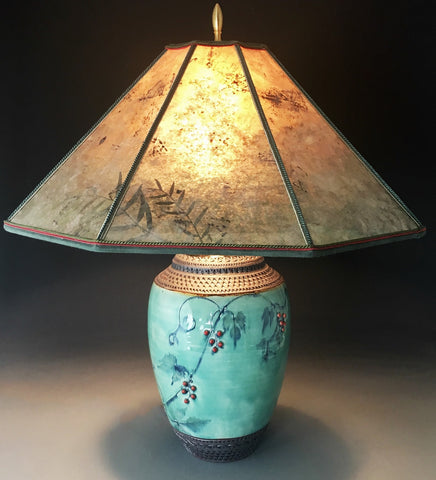 Porcelain Vine Lamp with Mica Shade SOLD, Accepting Orders