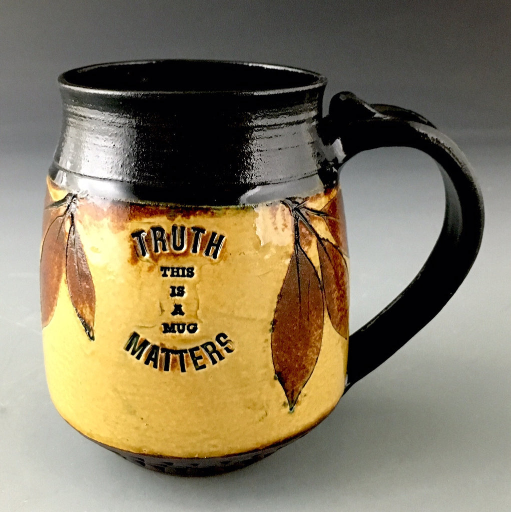 Truth Matters Mug in Amber with Mountain Laurel -SOLD-   Accepting orders.