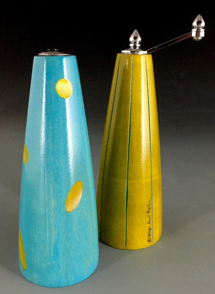 Salt and Pepper Grinder Set in Lime and Turquoise