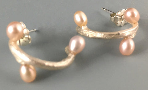 Pink Pearl and Silver Twig Post Earrings