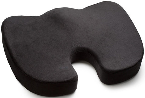 Seat Cushion, Luxfit Premium Coccyx Orthopedic 100% Memory Foam Seat Cushion - 2 Year Warranty (Black)