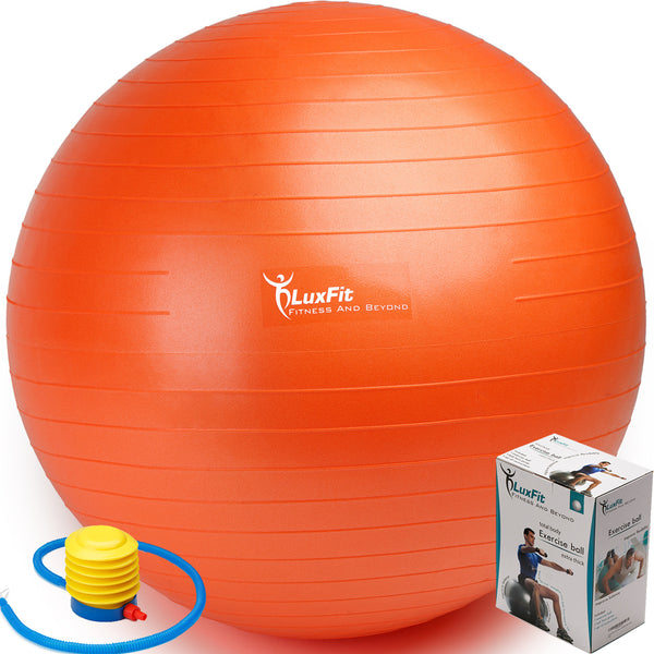 Exercise Ball, LuxFit Premium EXTRA THICK Yoga Ball '2 Year Warranty' - Swiss Ball Includes Foot Pump. Anti-Burst - Slip Resistant! 45cm, 55cm, 65cm, 75cm, 85cm Size Fitness Balls Available.