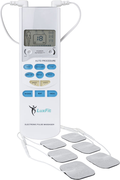 Tens Unit, LuxFit Premium Portable Tens Machine EMS Electric Pulse Massager '1 Year Warranty' - Great Electrotherapy Pain Management - Muscle Stimulator - Muscle Massager