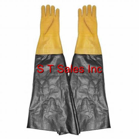 "TEXTURED RUBBER YELLOW SAND BLAST CABINET GLOVES SANDBLAST 8 1/2"" X 26"" PAIR"