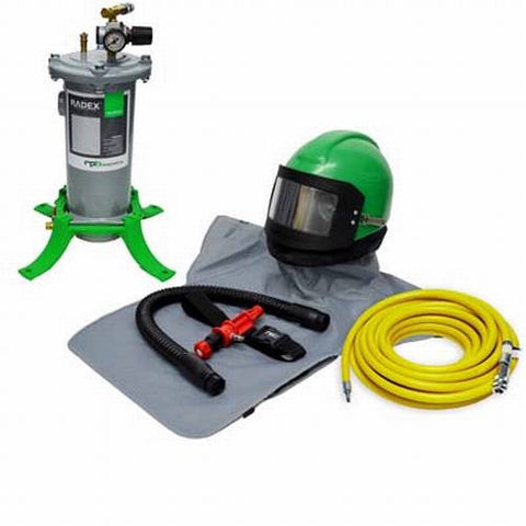 COMPLETE HEATED AIR AIR FED SANDBLASTING HELMET SYSTEM FOR SHOTBLASTING