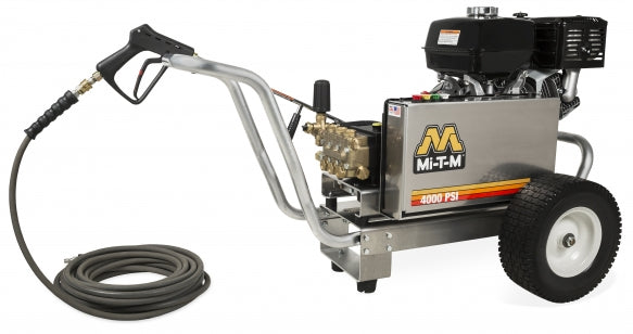 4000 PSI 4 GPM Heavy Duty Belt Drive Cold Water Softwash Pressure Washer On A Cart