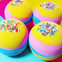 Unicorn Bath Bomb handmade at Sunbasil Soap because unicorns are real