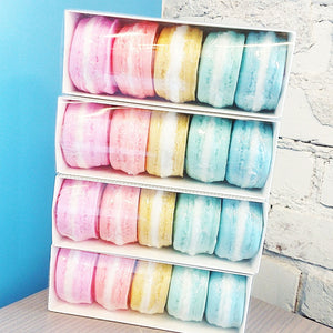 Macaron Soap Gift set in 5 colors of the rainbow and 5 different scents. Handmade by Sunbasilsoap.com