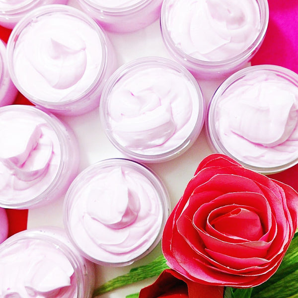 Rose Whipped Body Butter available at Sunbasil Soap
