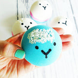 No drama llama bath bomb with magical powers to take away the stress and drama. Available at Sunbasil Soap