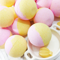 Strawberry Banana Smoothie Bath Bomb at Sunbasil Soap