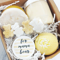 Mama Bear Spa Gift set for new moms and baby shower gifts available at Sunbasil Soap