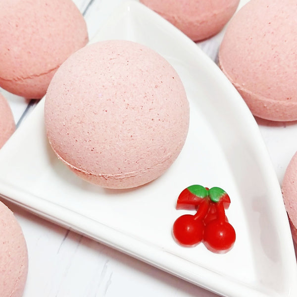 Cherry Bomb bath bomb handmade at Sunbasil Soap