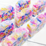 Unicorn confetti soap handmade at Sunbasil Soap for unicorn gift giving