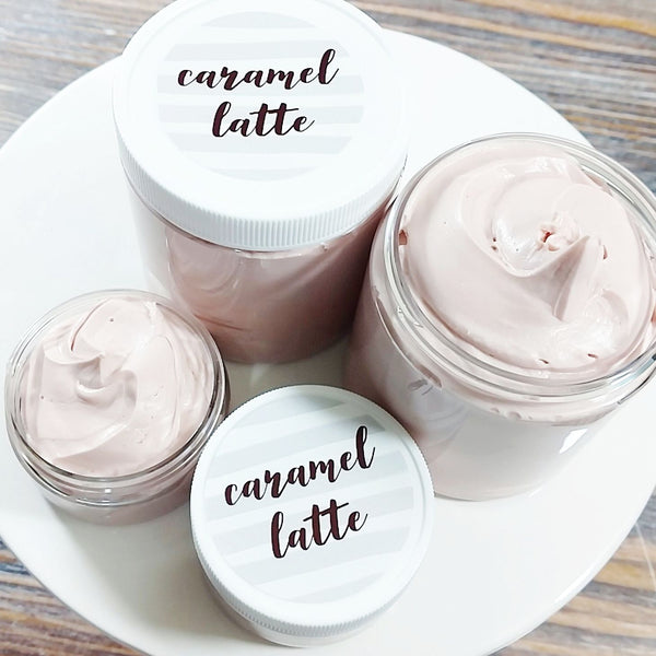 Caramel Latte Whipped Body Butter available at Sunbasil Soap for Fall