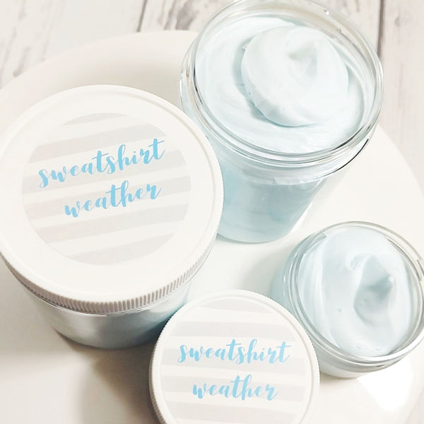 Sweatshirt Weather Whipped Body Butter with notes of sage, amber, juniper berry and eucalyptus available at Sunbasilsoap.com