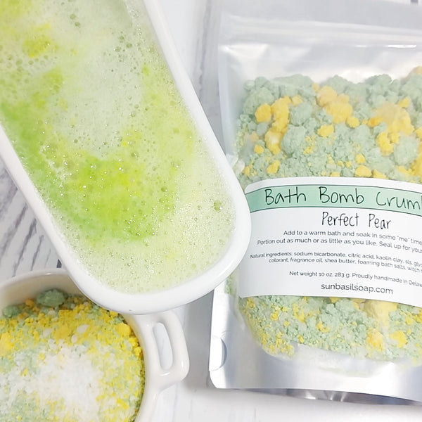 Perfect Pear Bath Bomb Crumbles at Sunbasilsoap.com. Control your bath time with portion control pouches