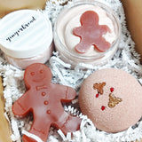 Gingerbread Holiday Bath Gift Set ready to gift this Christmas handmade at Sunbasilsoap.com