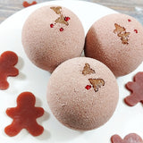 Gingerbread Bath Bomb handmade for Christmas gifts at Sunbasil Soap