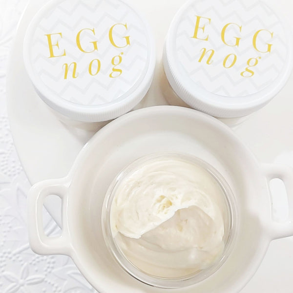 Egg Nog Whipped Body Butter for Christmas bath and body handmade at Sunbasil Soap, Middletown, Delaware
