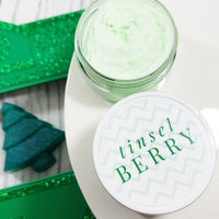 Tinsel Berry Whipped Body Cream to moisturize your dry winter skin and a perfect whip body butter to gift for the holidays at Sunbasil Soap
