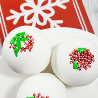 Tinsel Berry Bath Bomb handmade for Christmas gift giving for her at Sunbasil soap