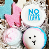 No drama llama bath gift set filled with creative llama inspired bath treats. Handmade at Sunbasil Soap. Perfect birthday gift and smells like birthday cake