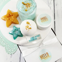 Our Hello Beautiful Spa Gift set boxed handmade gift for her brides mom wife Terry Mugler type scent at Sunbasil Soap