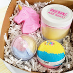 Unicorns are real bath gift set for the ultimate unicorn lover handmade at Sunbasil Soap