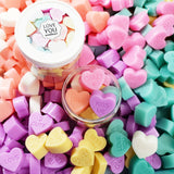 Conversation heart soaps for Valentine's Day gift giving handmade at Sunbasilsoap.com