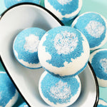 Beach Blue bath bomb handmade at Sunbasil Soap. Natural bath bombs with shea butter