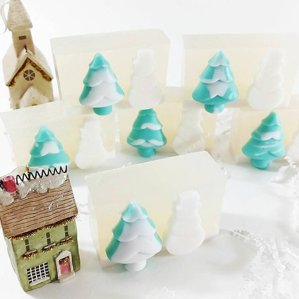Snow globe soap handmade for holiday gifts by Sunbasilsoap.com