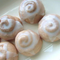 Mini Cinnamon bun soaps at Sunbasil Soap. Soap that looks good enough to eat