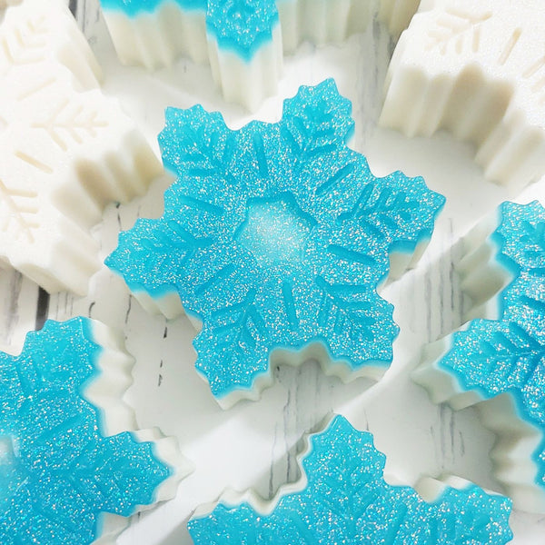 Ice blue snowflake soap handmade at Sunbasil Soap for holiday gift giving